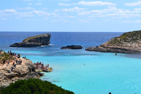 Maltas blue lagoon from the island of Comino